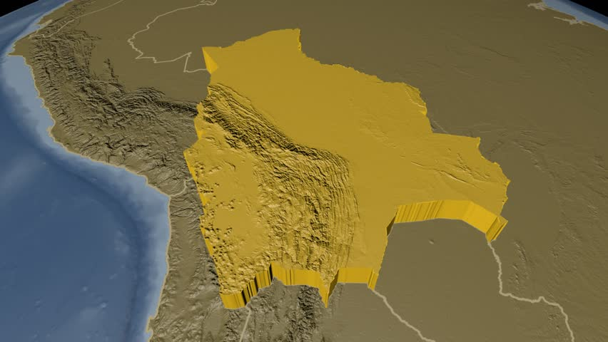 Bolivia extruded on the world map with administrative borders. Elevation and bathymetry data on solid colors used. Elements of this image furnished by NASA.