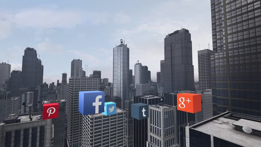 NYC, NEW YORK, UNITED STATES - CIRCA DECEMBER, 2014: Animation of popular social media apps flying up in the city center