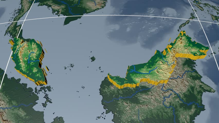 Malaysia extruded on the world map with graticule. Rivers and lakes shapes added. Colored elevation and bathymetry data used. Elements of this image furnished by NASA.