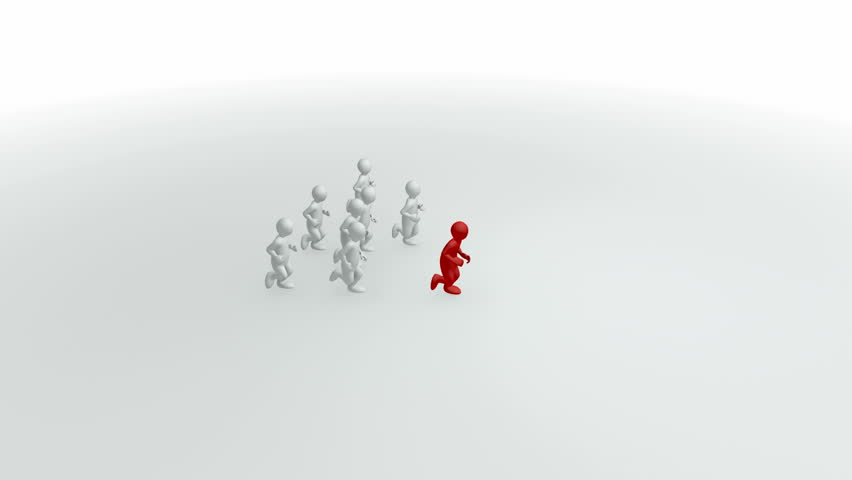 Animation representing a group of 3d-men running - HD stock video clip