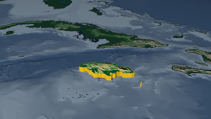 Jamaica Extruded On The World Map With Graticule Rivers