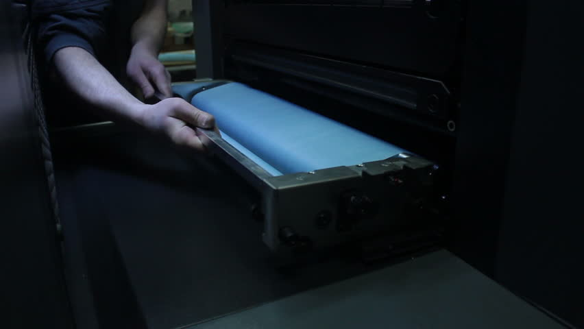 Printing and Publishing. Details of the printing machine. Print section - plates and cylinders. - HD stock footage clip