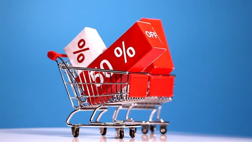 shopping trolleys with sale icons