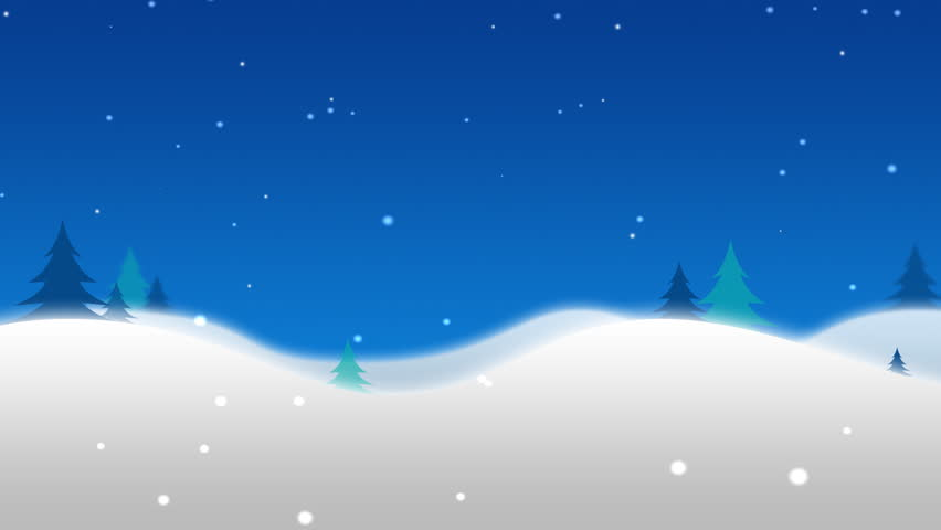 Cartoon snowy winter and christmas scene with north pole sign that reads merry christmas