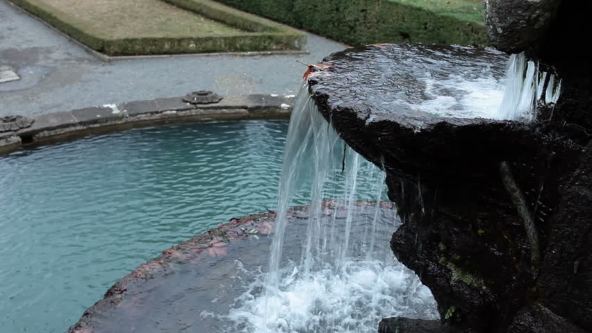 Video clip showing a detail of the Giants Fountain in the gardens of Villa Lante, at Bagnaia, Viterbo province, Lazio, Italy.