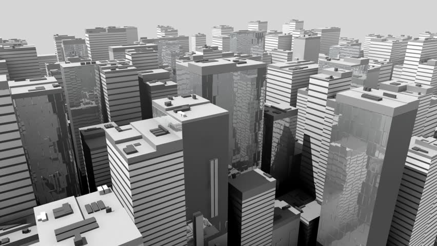 Abstract Model of black and white city with steel and glass futuristic skyscrapers