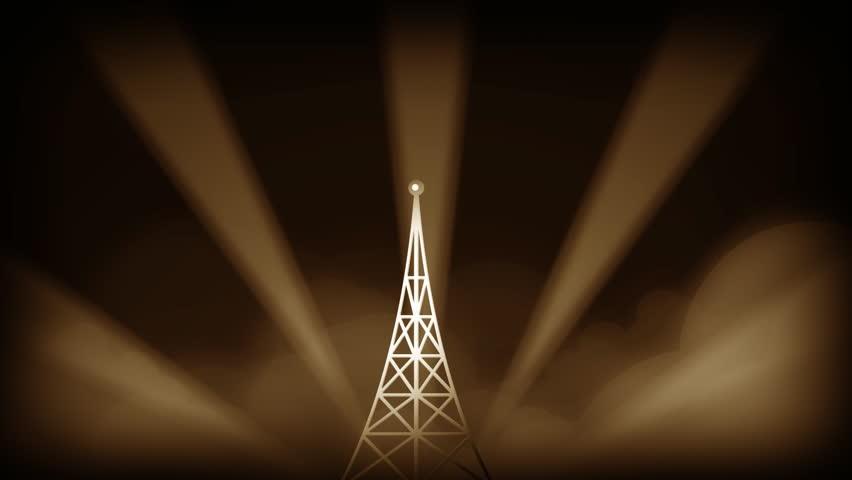 broadcast tower , retro art animation