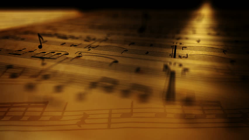 Animated background with musical notes. - HD stock footage clip