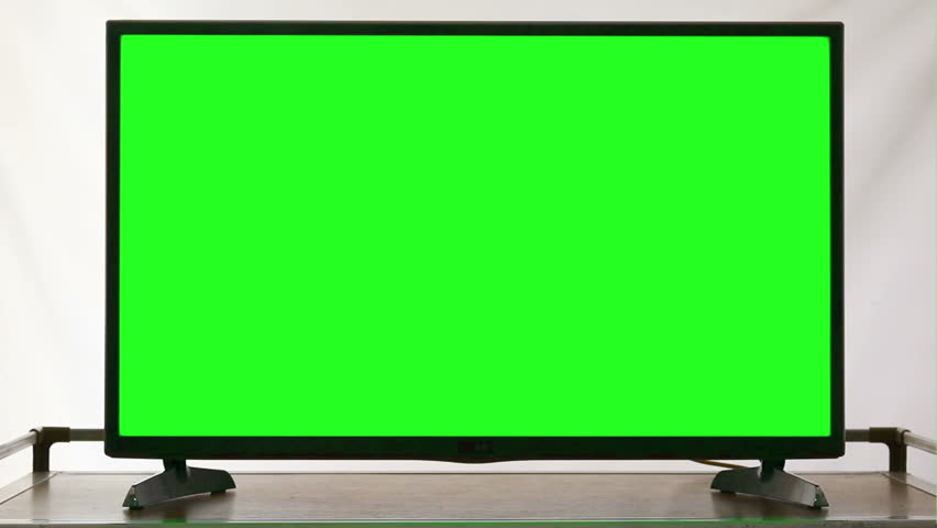 Modern HDTV With Green Screen  - HD stock footage clip