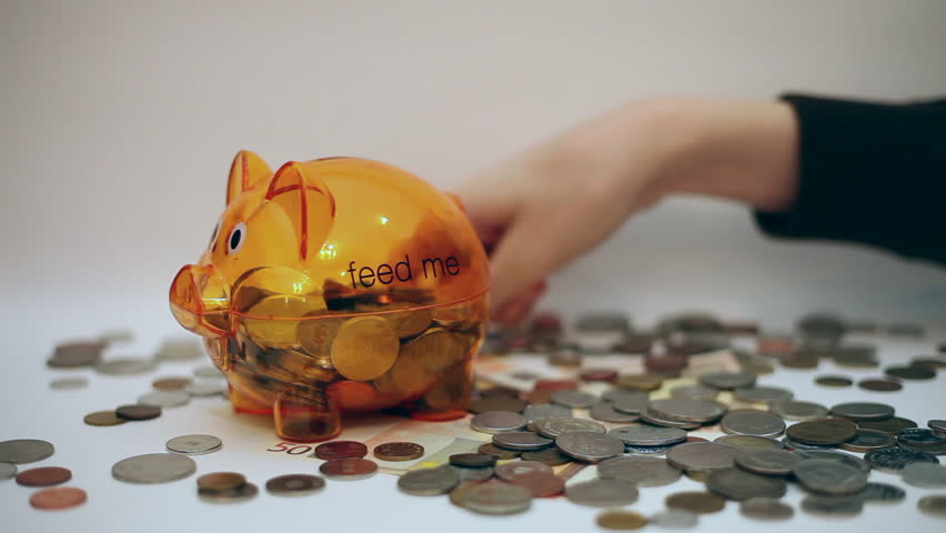 Piggy bank, hand counting money, coins, banknotes, cash, debts