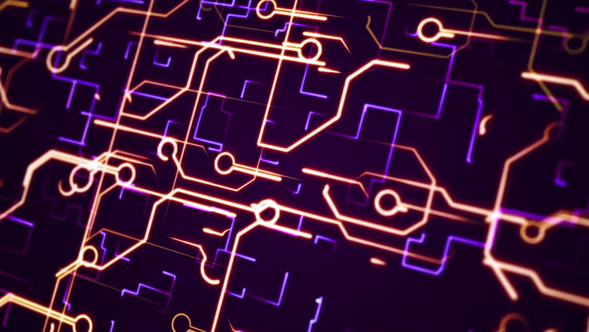 Abstract Circuit Board Background By Silvertiger: Motion Graphic Purple Line Of Technology Background. Stock