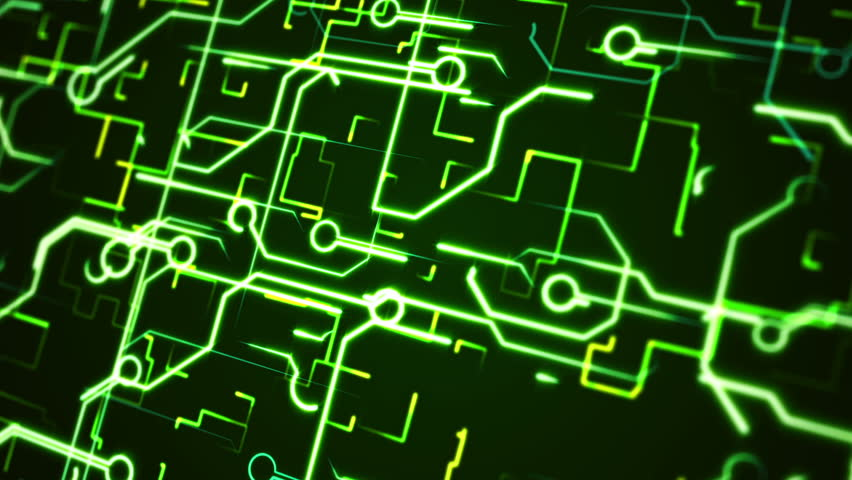 Abstract Circuit Board Background By Silvertiger: Computer Circuit Board Green Loopable Background. Abstract