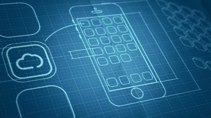 Mobile app development blueprint concept technology for Blueprints drawing apps