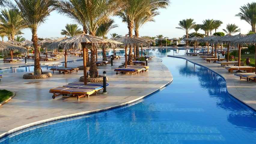 Hurghada Egypt December 5 2014 Swimming Pool With Palm Trees In Hilton Long Beach Hurghada