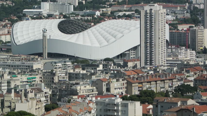 MARSEILLE, FRANCE - CIRCA AUGUST, 2014: Aerial of the Stade Velodrome the multi-purpose stadium in Marseille, France. It is home to the Olympique de Marseille football club of Ligue 1 and FIFA events