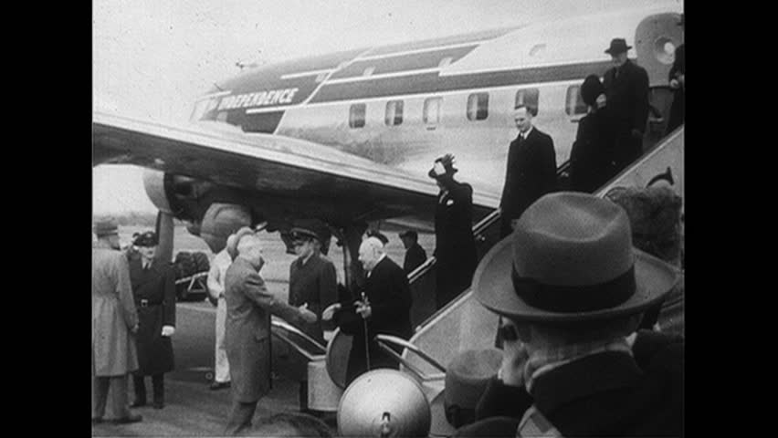 WASHINGTON DC 1952 : Winston Churchill is greeted by President Truman as he steps of the plane in Washington, D.C.