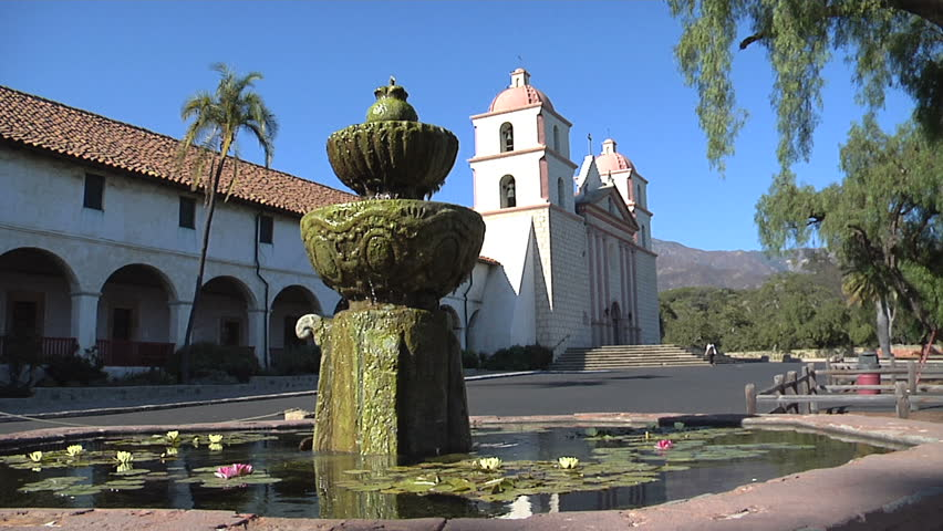 Santa Barbara Mission California with fountain - HD stock video clip