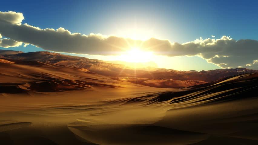 fly over desert sunset - HD stock video clip