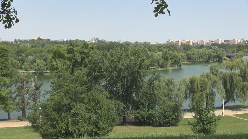 Nice landscape with city concrete buildings background, relaxation in nature