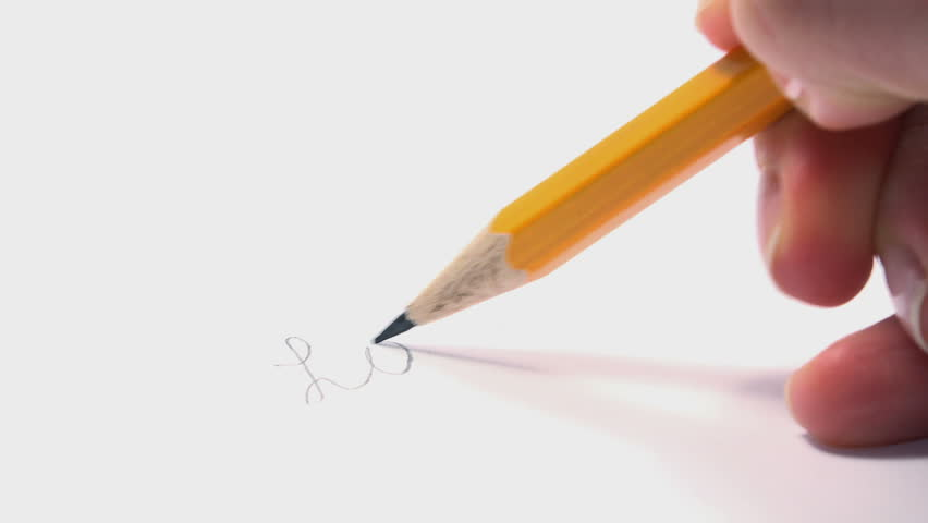 Woman Writes LOVE Word with a Pencil and Broken it at the End. 4K Ultra HD 3840x2160 Video Clip