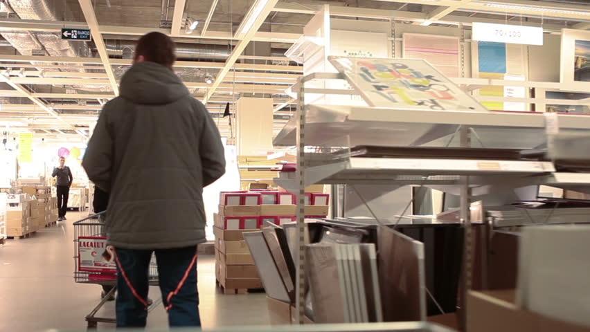 russia circa jan 2015 people walk in ikea marketplace ikea