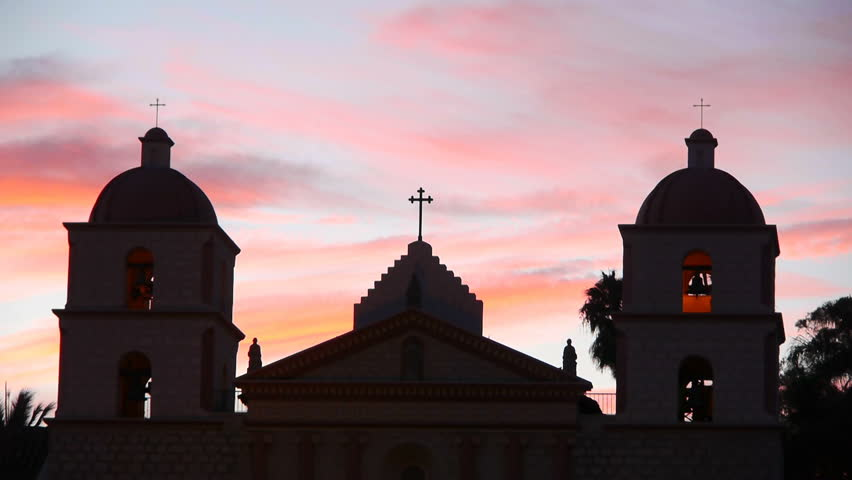 Time lapse footage of Old Mission Santa Barbara during sunset in Santa Barbara, California - HD stock video clip