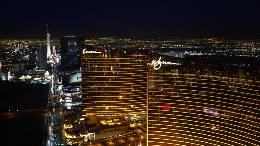 Las Vegas, Nevada, USA - November 26, 2014: Aerial view of Wynn and Encore
