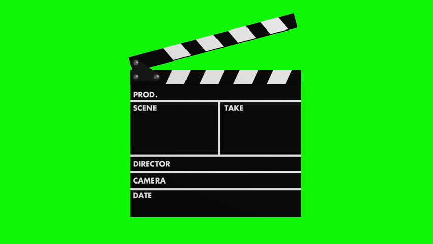 Movie production clapper-board isolated on green screen chroma key background