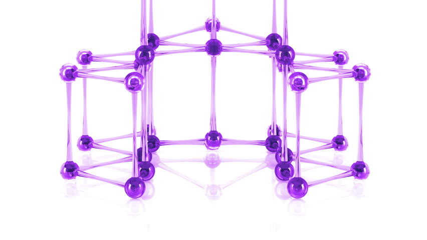 Abstract glass molecular structure on the bright and reflective background