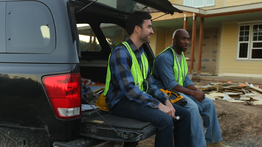 Construction workers take a break from work