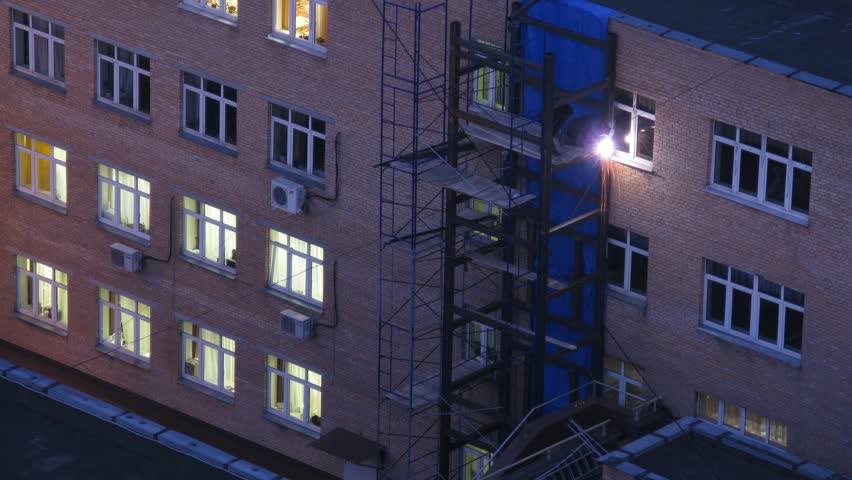Welders On Scaffolding And Elevator Welding Timelapse Stock Footage Video 3503201 Shutterstock