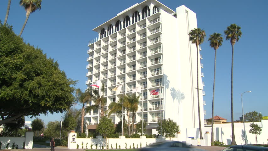 LOS ANGELES, CALIFORNIA - CIRCA 2014 - Daytime view of a Los Angeles apartment or hotel. - HD stock video clip