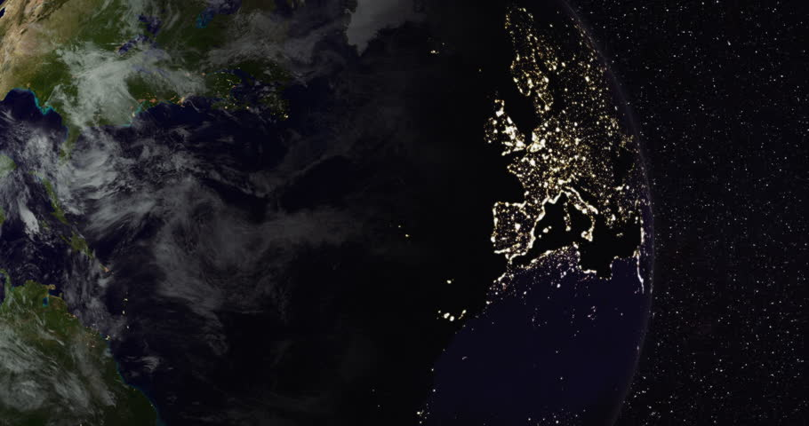 [loopable] Planet Earth from space. Northern hemisphere close-up (America, Europe, Asia). Day and night city lights. Moving clouds. Steady starry sky background. Clip ID: ax1122c