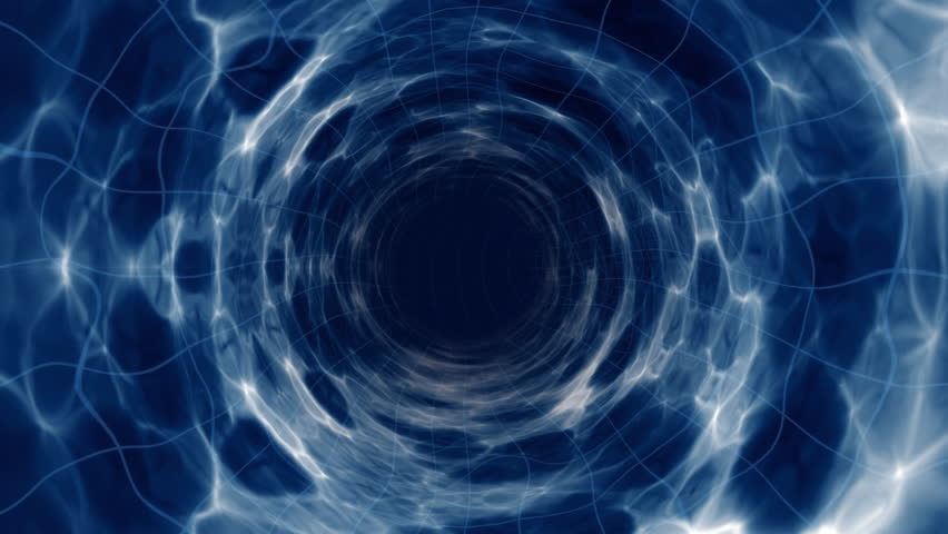 Wormhole flight to another dimension through a blue light force field - HD stock video clip