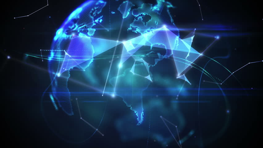 Digital animation of Connecting lines with earth graphic | Shutterstock HD Video #9134363
