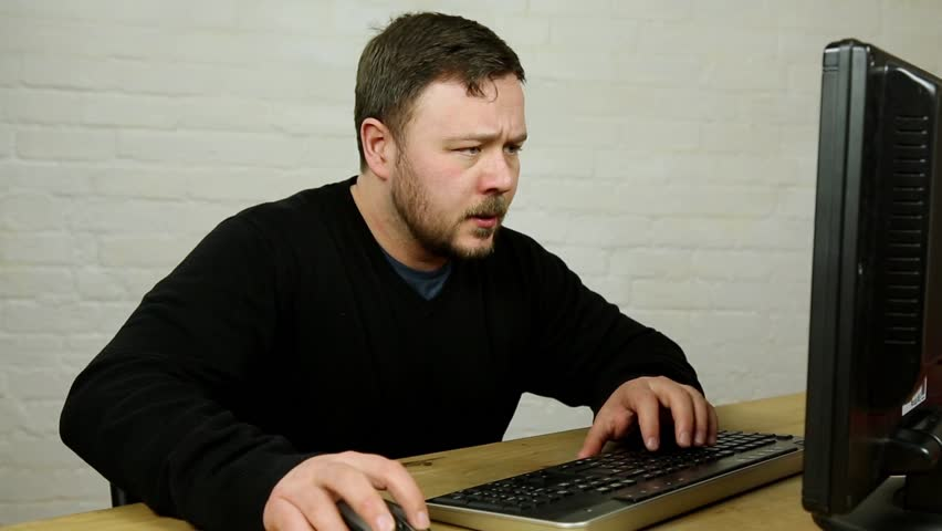 angry office worker male man using broken computer hitting - HD stock footage clip