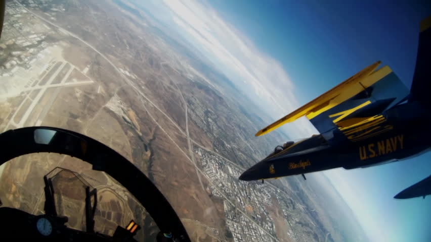 CIRCA 2010s - POV shot from the cockpit of the Blue Angels jets at an airshow.