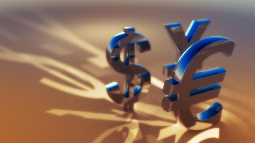 3d animated symbols of main global currency - dollar, euro, yuan. Seamless loop.