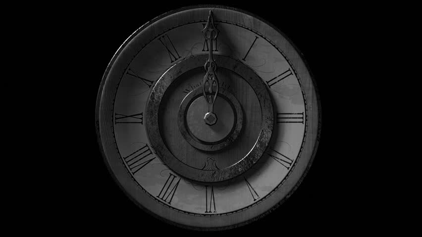 Front view of vintage wall clock with one metal pointer animated going one full circle. Looping on black background. Grainy, Black and white look. | Shutterstock HD Video #9218288