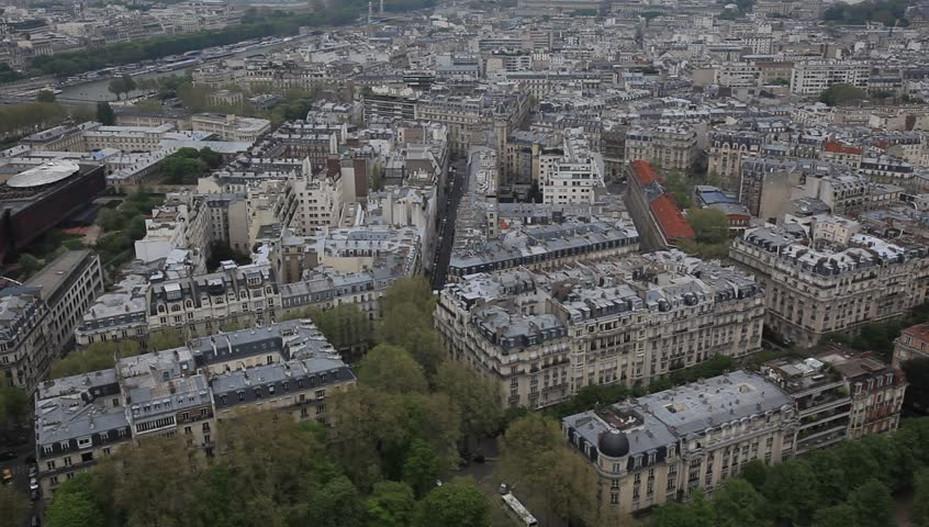 PARIS, FRANCE- 2013: Top view of Paris city from the Eiffel Tower | Shutterstock HD Video #9221528