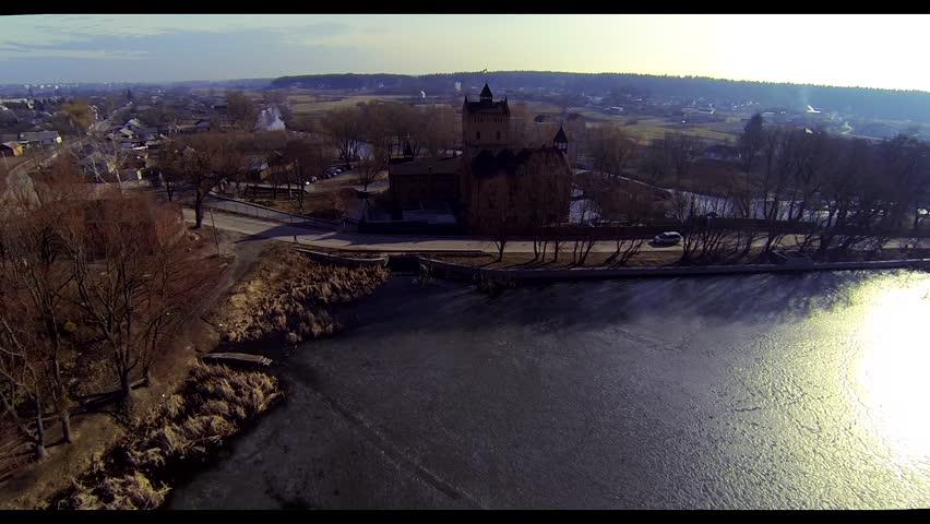 Aerial: castle Ukraine old house retro vintage palace    Shutterstock HD Video #9244721