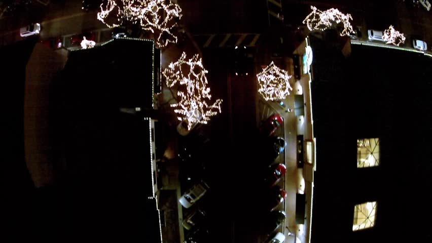 HD DRONE Downtown Naperville IL Christmas Lights From Above  | Shutterstock HD Video #9255530