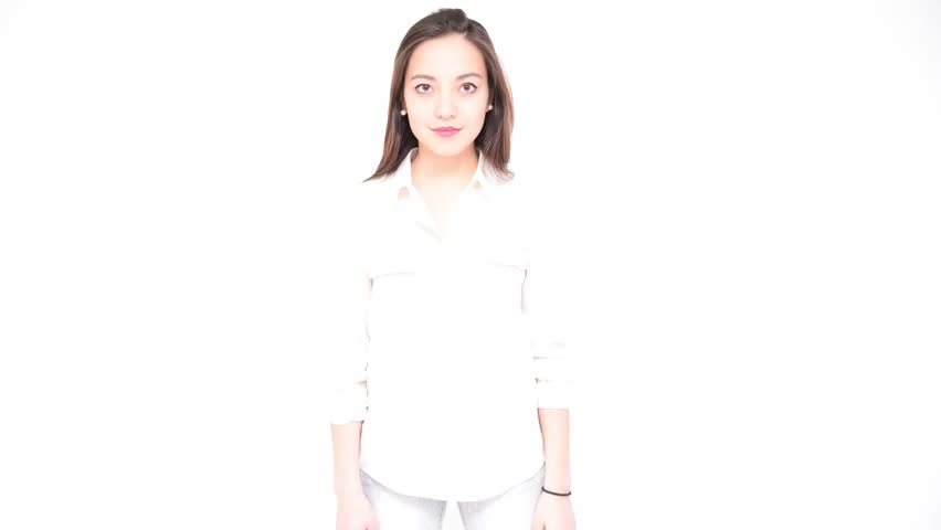 Pretty young woman posing and showing different expressions - Collection of diverse human emotions - Time lapse video