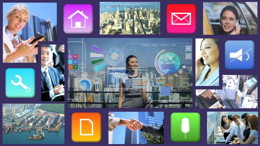 Business Motion Graphics Touchscreen Asian businessman Global Apps Technology