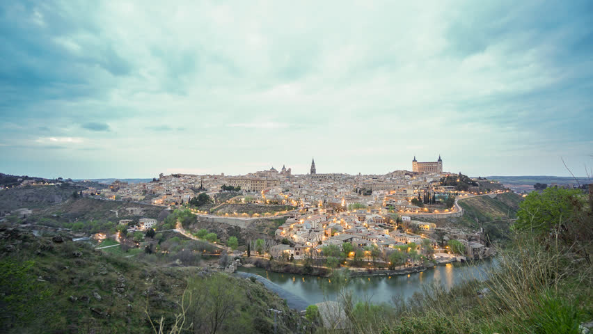 Sunset in Toledo, Spain. Time Lapse with cloudy sky