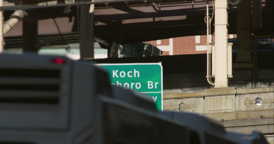 Shot of the sign for the Ed Koch Queensboro Bridge in Manhattan | Shutterstock HD Video #9326090