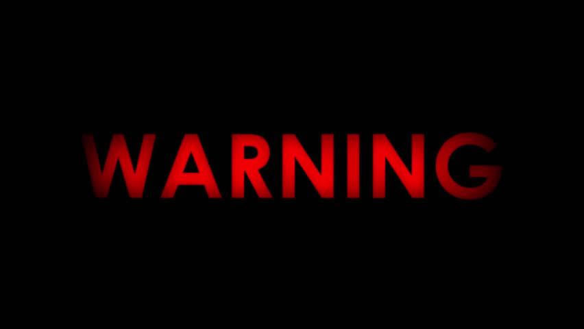 text warning black background - photo #1