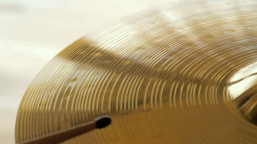 Cymbal crash hit, closeup slow motion