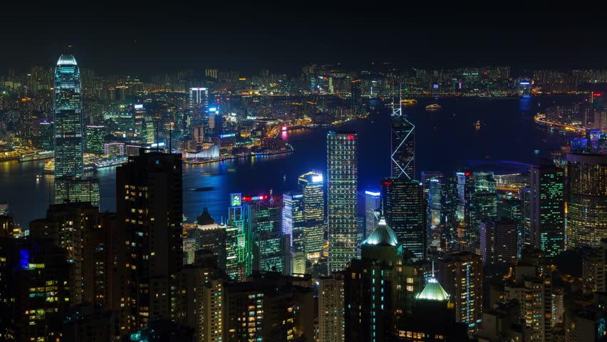 HONG KONG, CHINA - OCTOBER 2014: night light city panorama 4k time lapse circa october 2014 hong kong, china. | Shutterstock HD Video #9363782