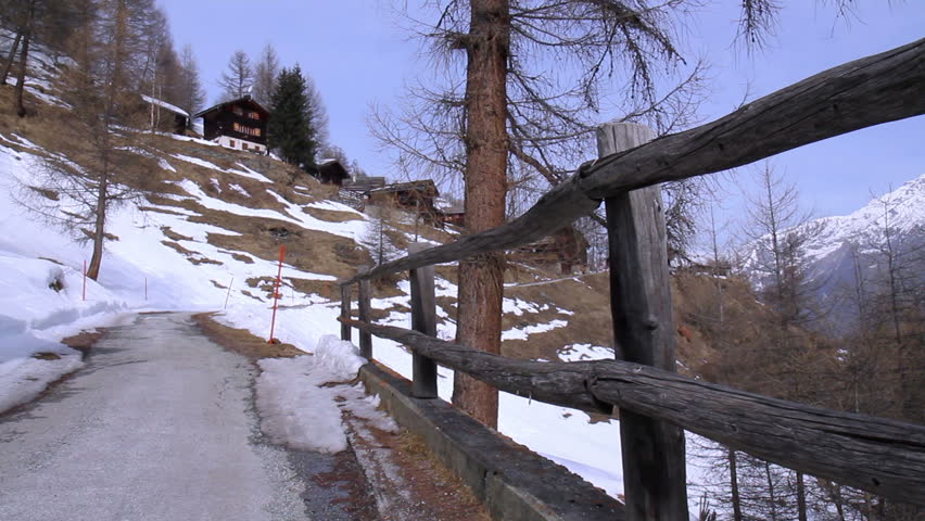 Early Spring in the Alps. Mountain View near  Heremence village, Valais , Switzerland. - HD stock video clip